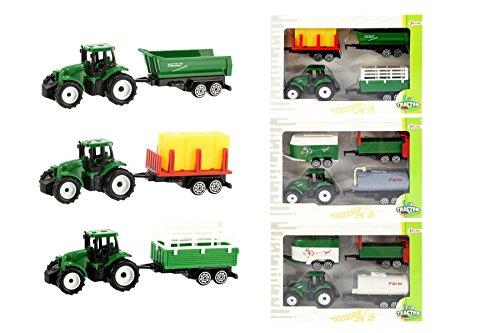 Toi-Toys-Farmer Mini Traktor mit 3Anhänger in Window Box Fahrzeuge zu Funktionen, 28451z, Mehrfarbig
