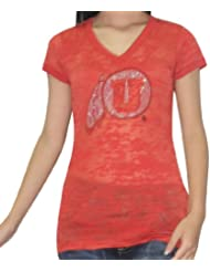 NCAA Utah Utes femmes V-Neck T-Shirt with Rhinestones (Vintage Look)