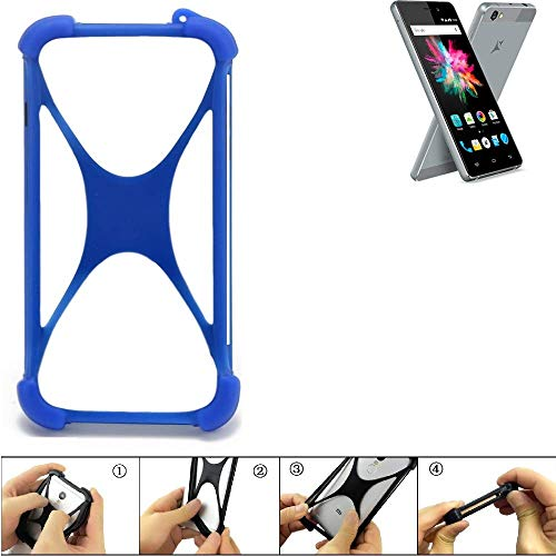 K-S-Trade Bumper für Allview X3 Soul Mini Silikon Schutz Hülle Handyhülle Silikoncase Softcase Cover Case Stoßschutz, blau (1x)