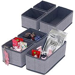 homyfort Organisateur de Tiroir 6 Pièces, Boîte de Rangement Pliable Non-tissé pour sous-vètements, Chaussettes, Utilisation Flexible boîte tiroir, Lin Gris, XDS3P2