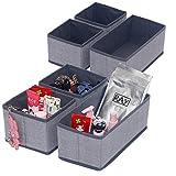 homyfort Set di 6 Organizer Armadio, Ideali Come Organizer cassetti, Portabiancheria in Tessuto Traspirante, Grigio Lino, XDS3P2