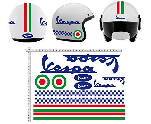 Pegatinas CASCO Kit casco VESPA BLU AZUL ITALIA vinilo VINY PULIDO para su computadora portátil, dormitorio, equipaje, coche, maletas, motocicletas, bicicleta, monopatín, tabla de snowboard, PS4 y Xbox One carrera cross track calcomanías de motocicletas