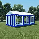 Zora Walter Gartenpavillon PVC 3x6 m blau und weiß Sonnensegel wasserdicht einfache Montage
