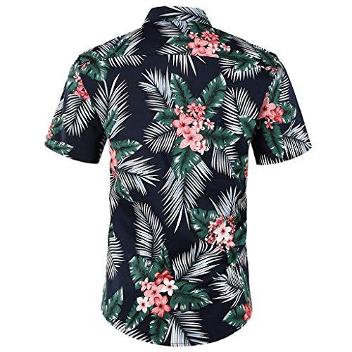 Beikoard Männer Hawaiian Kurzarm Shirt Sommer Floral Bedruckte Strand Meer Hemd Kurzärmliges Hemd mit Knöpfen Top Bluse (Grün, M)