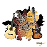 Stickers muraux sticker autocollant pour la salon lune guitare instrument (Hauteur=37x30cm)