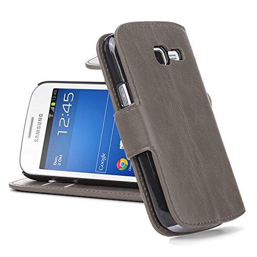 Housse Galaxy Trend (Fresh) Lite Housse Portefeuille | JammyLizard | Housse range cartes folio protection portefeuille Samsung Galaxy Trend (Fresh) Lite aspect cuir Rétro, Gris