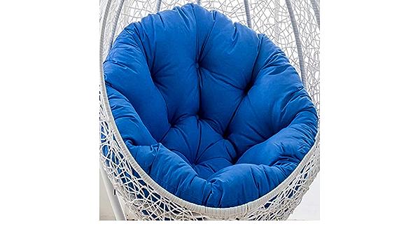 ZXL Nido Duovo Sagomato Cuscini,Cuscino per Sedia a Dondolo Cuscini per sedie a Uovo in Vimini di Cotone lanuginoso Tondo Cuscino Patio Giardino-Blu Reale 105x105 cm