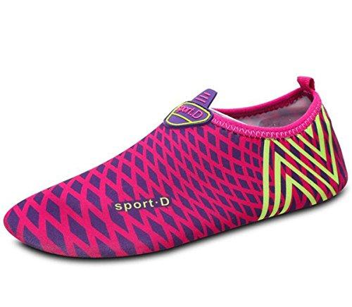 Beauqueen Coussin d'air athlétique de natation légère Entraînement de gymnastique PE respirant Confortable Chaussures décontractées pour enfants pour hommes en douce Taille de l'UE 25-48 rose red