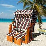 wolketon Strandkorb Polyrattan Kunststoffgeflecht XXL Strandstuhl UV-beständiges inkl. Kissen|Nackenkissen|Wasserdicht Strandkorbschutzhülle|Tische zum Aufklappen|ausziehbare Fußstützen