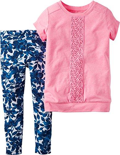 Carter's 2 Teilige Kombination für Mädchen Tunika + Leggings/Hose Baby Girl Dress Sommer Outfit Set T-Shirt (6 Monate, rosa/blau) Girl Carters Legging