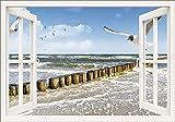 Artland Qualitätsbilder I Bild auf Leinwand Leinwandbilder Wandbilder 70 x 50 cm Landschaften Fensterblick Foto Weiß A8MW Fensterblick Ostsee