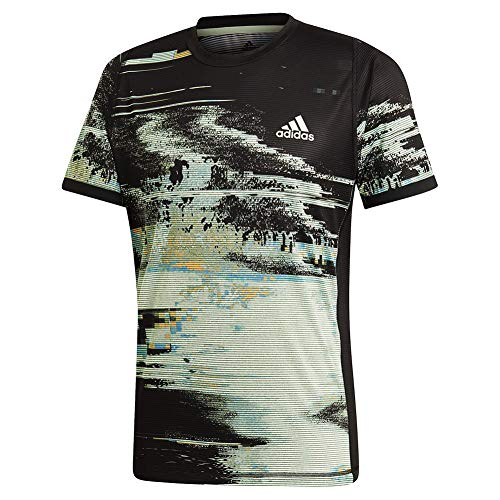adidas Herren Ny Printed Tennis Tee kurzärmelig, Black/Glow Green/Flash Orange, - Tee Tennis Adidas