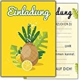 Ananas 12-er Kartenset Kindergeburtstag Einladungskarten Einlsdung Cocktailpary Gartenparty Poolparty Hawaii Poolparty Karten Zitrone Orange Gelbe Kinder Jungen Mädchen Erwachsene