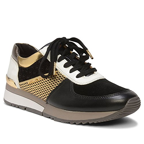 Michael Kors Sneakers Allie Trainer Black Gold Metallic Nappa, Black Gold, 39...