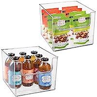 mDesign Juego de 2 cajas de almacenamiento de alimentos – Organizador de frigorífico, armario o