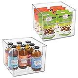mDesign Set da 2 Contenitori da frigo per alimenti – Scatola da cucina in plastica senza BPA con apertura – Organizer frigorifero – trasparente