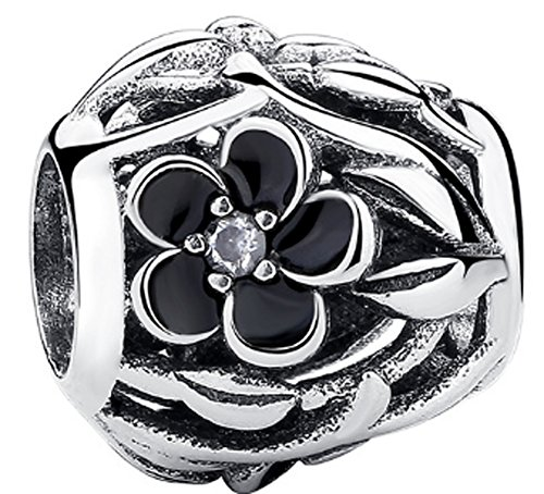 SaySure - 925 Sterling Silver Mystic Floral Charm Black (Black Tortoise Charm)