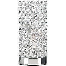 MiniSun – Lampada da tavolo cilindrica 'Ducy' - con paralume con gioielli transparenti di acrilico e cristallo di piombo K9 vero