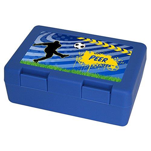 Brotdose mit Namen Peer und schönem Fußball-Motiv für Jungen - Brotbox - Vesperdose - Vesperbox - Brotzeitdose mit Vornamen, blau - Brotbox - Vesperdose - Vesperbox - Brotzeitdose mit Vornamen - Peer Ball
