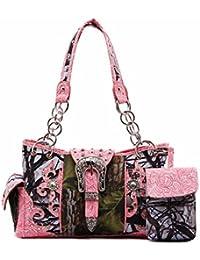 Cowgirl Trendy Western Handbag - Camo Print Silver Buckle Concealed Carry Shoulder Bag With Rhinestone & Stud...