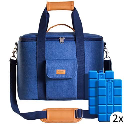 Feder Premium Kühltasche mit Kühlakkus - große 25 Liter Isoliertasche/Thermotasche/Eistasche