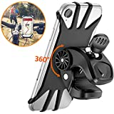 Cocoda Bicycle Mobile Phone Holder 360° Rotation Mobile Phone Holder for iPhone All 4.5 - 6.5 Inch Mobile Phones Universal Silicone Adjustable for Motorcycle, Black