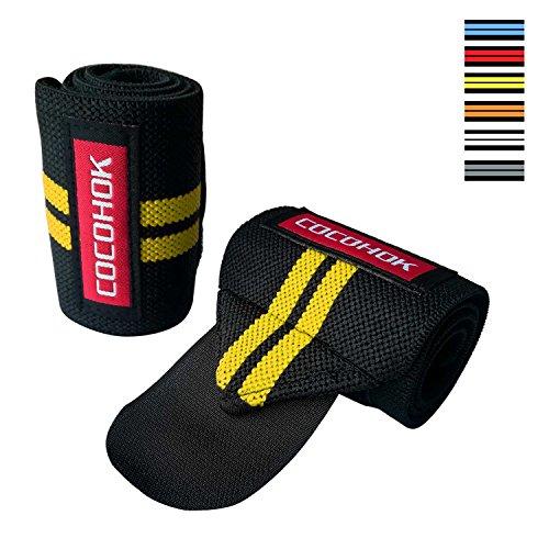 Handgelenk Bandagen Fitness für Herren & Damen - 50cm Handgelenkstütze für Kraftsport, Bodybuilding, Gewichtheber Gürtel, Crossfit - 2 Jahre Gewährleistung [2er Set]