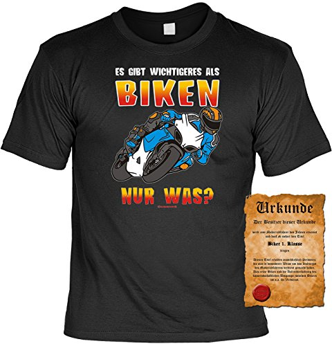 Biker Motorrad Motiv T-Shirt :-: mit Urkunde schwarz-01