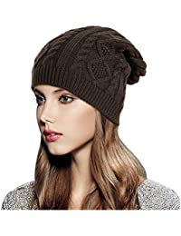 6b7f14d362b328 Glamorstar Women Cable Knit Beanie Winter Warm Crochet Hats Chunky Stretch  Ski Cap