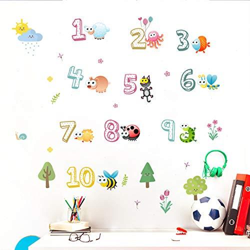 Cartoon Tiere Insekt Zahlen Wandtattoos Schlafzimmer Hauptdekorationen Pvc Wandaufkleber Zubehör Diy Wandbild Tapete