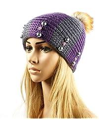 Venta Mujeres Dama chica Casual Pearl Crochet lana tejida cálido invierno Beanie Hat púrpura