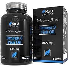 Aceite de Pescado Omega 3 1000 mg El Doble de Potencia AEP y ADH Cápsulas Blandas