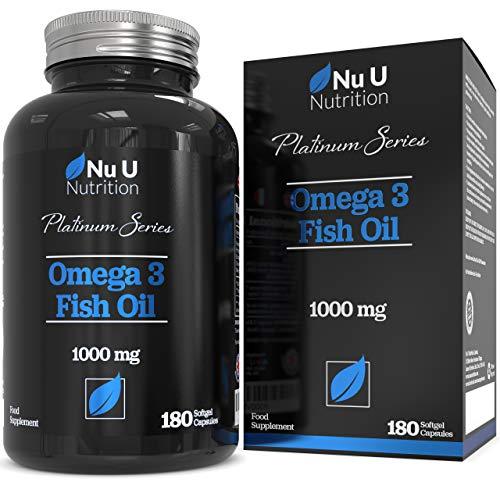 Aceite de Pescado Omega 3 1000 mg El Doble de Potencia AEP y ADH Cápsulas Blandas | Omega 3 6...