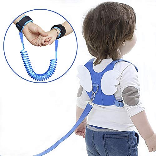 Anti-verloren Gürtel, OFUN 2 Stücke Leine für Kinder, 2,5 m Baby Leine Laufleine Baby, Weiche Baumwolle und PU-Material, Kinder Laufleine (Blau) -
