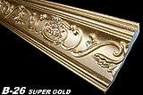 2 Meter Leiste Decke Dekor Stuck Eckprofil 53x88mm, B-26 SUPER GOLD