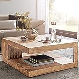 FineBuy Massiver Couchtisch PATAN 90 x 90 cm mit Ablage Akazie Holz Massiv | Design Wohnzimmertisch Massivholz | Wohnzimmer Tisch Quadratisch