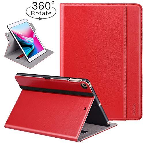 Ztotop Hülle für iPad 9.7 Zoll 2018/2017/Air 2/Air, [360 Grad Umdrehung/Rein Leder] Faltbare Geschäftshülle Multi-Winkel und Automatische Aufwachen Den/Schlafenden Smart Case Cover,Handschlaufe,Rot (Smart Case 2 Ipad Apple Rot)