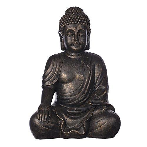 Buddha B4016S Bronze oder Steingrau, Buddha Figur XL 54cm hoch , für Innen uns Außen, Buddha Statue groß, Büste, Gartendekoration, Wetterfest (nicht frostsicher) aus Kunststein (Polyresin) sehr aufwendig per Hand bemalt, sehr feine Strukturen (Bronze Optik) (Innen-statuen Hohe)