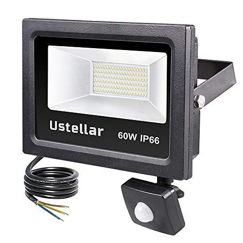 Ustellar 60W LED Strahler mit Bewegungsmelder Außenleuchte 4800lm Tageslichtweiß 5000K, IP66 Wasserfest Sensor LED Strahler Fluter Scheinwerfer PIR Wandstrahler für Garten Garage -