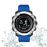 Tlgf Smartwatch, Bluetooth Smart Watch Impermeable Fitness Tracker Reloj con Monitor De Ritmo Cardíaco SMS Notificación De Llamada Cámara Remota Música,Blue
