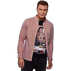 oodji Ultra Hombre Camisa Extra Slim a Cuadros Pequeños, Rojo, сm 38 / ES 44 / XS