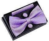 Retreez Herren Gewebte vorgebundene Fliege Fischgrätmuster Gestreifte 13 cm und Einstecktuch und Manschettenknöpfe im Set, Geschenkset, Weihnachtsgeschenke - violett