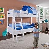 Relita BE3032317-B90+TX5072026 Etagenbett STEFAN, Maße 208 x 160 / 230 x 98 / 143 cm, Liegefläche 90 x 200 cm, Buche massiv weiß lackiert