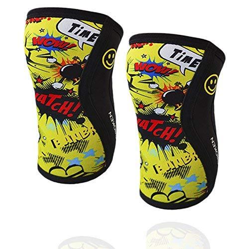 Ginocchiere BANBROKEN YELLOW FUN - 5 mm Knee Sleeves - CrossFit, Allenamento funzionale, Sollevamento pesi e altri sport. Compressione Squats. 1 paio uomo e donna (L)