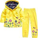 wulide bambini ragazza pioggia giacca con cappuccio + pantaloni impermeabili, Bambina, Gelb