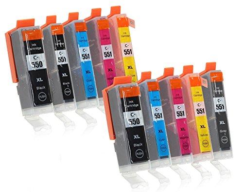 Preisvergleich Produktbild 10 Druckerpatronen mit Chip und Füllstandsanzeige kompatibel zu Canon PGI-550 / CLI-551 (2x Schwarz breit, 1x Schwarz schmal, 2x Cyan, 2x Magenta, 2x Gelb, 1x Grau) Passend für Canon Pixma IP-8700 IP-8750 MG-6300 MG-6350 MG-7100 MG-7150 MG-7500 MG-7550