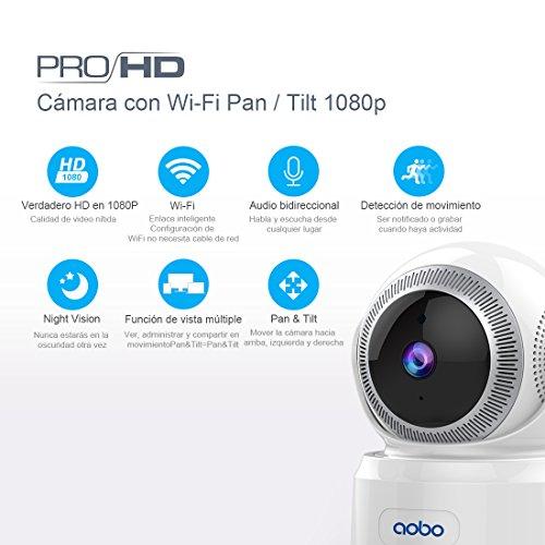 Cámara IP Wifi AOBO Cámara de Vigilancia Inalámbrico 1080P HD Hogar Cámara de Seguridad Horizontal 355° con Detección de Movimiento Monitor bebé/Visión Nocturna y Audio Bidireccional para el Casa/Oficina/Bebé/Mascotas