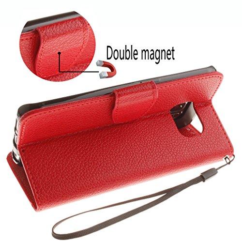 Samsung Mobiltelefon case Magnetisch PU-Leder Geldbörse Flip Wallet Cover in Book Style Stand Case für Samsung Galaxy S6 edge Rot Rot