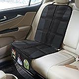Rovtop Protector de asiento de coche Antideslizante con organizador bolsillos Tamaño universal para los asientos de coche de bebé y niño de alta resistencia (negro)