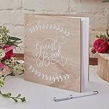 Ginger Ray Gästebuch Holz natur Hochzeit 32 Seiten